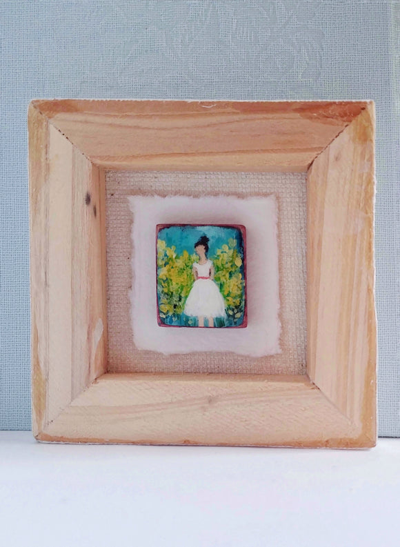 Original Art on Wood Tile - Penelope in White.