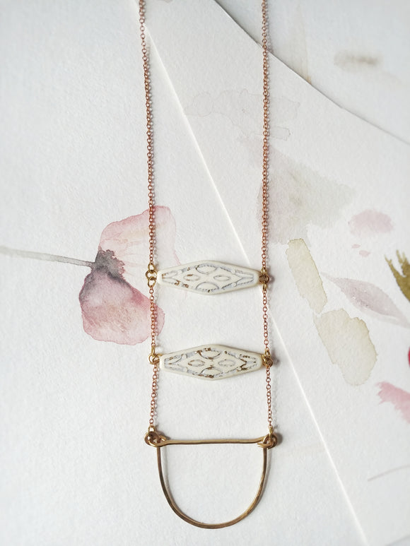 Boho Modern Ladder Necklace - White and Gold