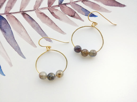 Hammered Oval Hoop Earrings Labradorite - Stormy