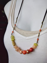 Polymer Clay Beaded Necklace Gemstone Curve Bar ~ Sonia