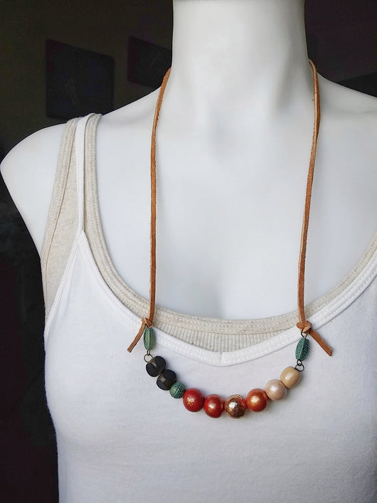Polymer Clay Beaded Necklace Boho Curve Bar Folk Bohemian ~ Sonora