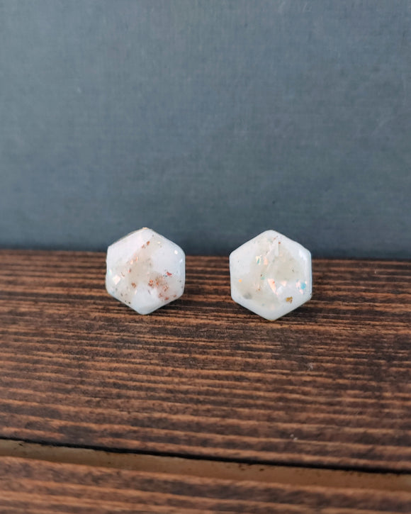 Made to Order - Hexagon Post Earrings Polymer Clay - Clouds.