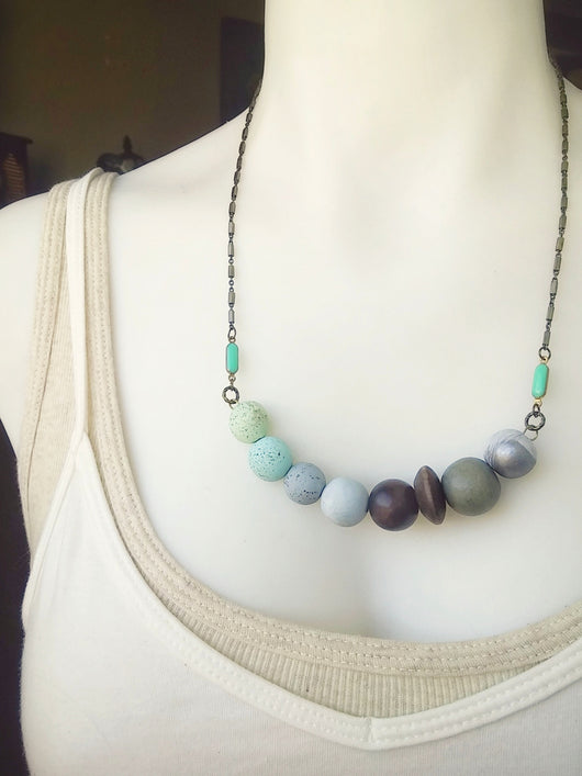 Polymer Clay Beaded Necklace Curve Bar ~ Savannah
