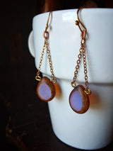 Minimalist Modern Dangle Teardrop Earrings Czech Glass Beaded  - Petunia.