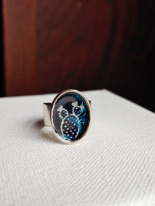 Cactus Ring Hand Painted Wearable Art  -  Moonlit Cactus..