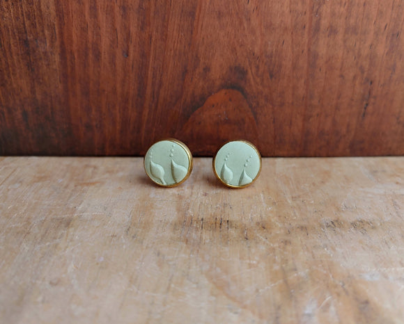 Polymer Clay Post Earrings - Muted Mint.