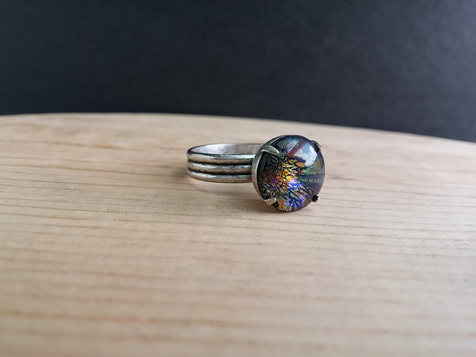 Minimalist Dichroic Glass Ring Adjustable Antiqued Silver Plated Band  - Nebula No. 2