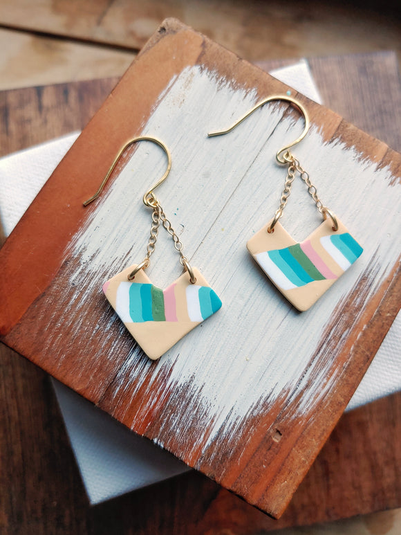 Chevron Polymer Clay Dangle Earrings - Retro Chevron.