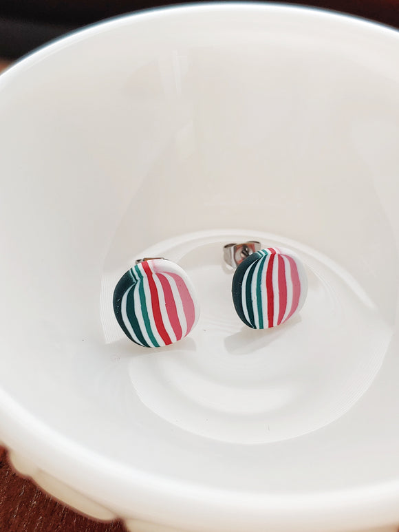 Striped Polymer Clay Post Earrings - Sweet Summer No. 1