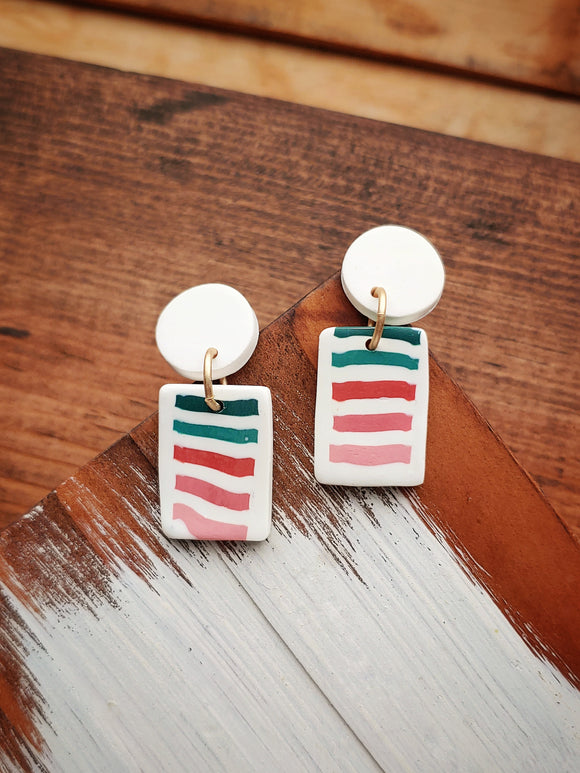 Polymer Clay Post Earrings - Retro Stripe No. 1