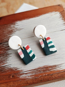 Polymer Clay Post Earrings - Retro Stripe No. 2