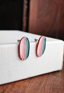 Oblong Polymer Clay Post Earrings - Sweet Summer No. 3