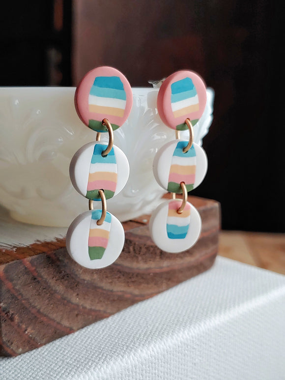 Polymer Clay Post Earrings - Muted Sunset.