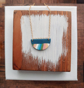 Half Moon Necklace Striped Polymer Clay ~ Retro Stripe in Blue