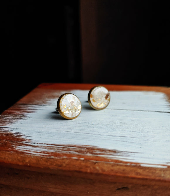 Post Earrings Polymer Clay and Resin - Made to Order - White & Gold.