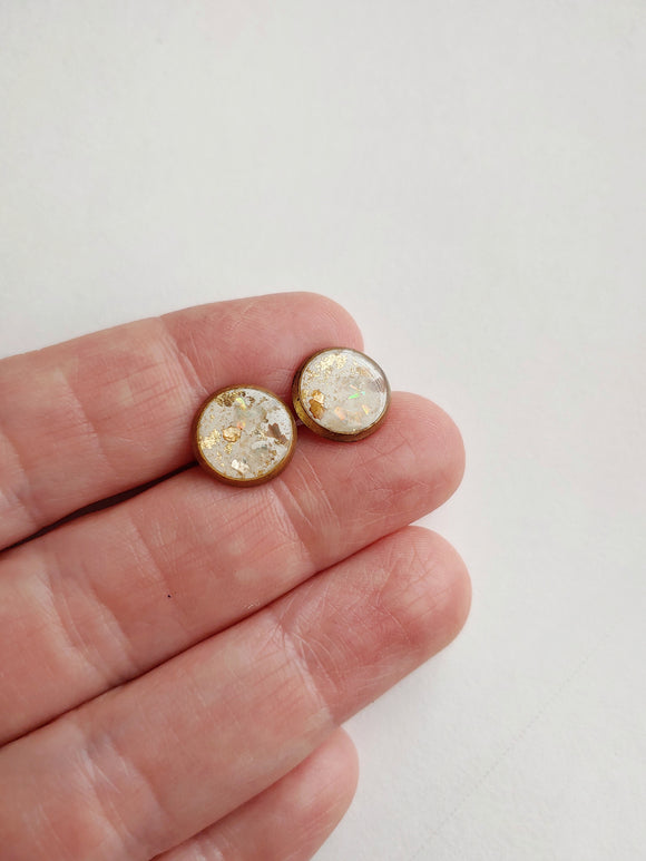 Post Earrings Polymer Clay and Resin - White & Gold.
