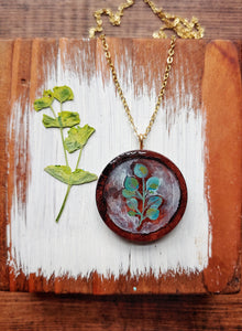 Necklace Hand Painted Eucalyptus Wearable Art - Silver Dollar