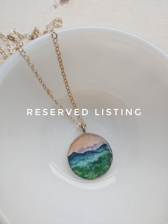 Reserved - Blue Ridge Mountains Necklace Hand Painted Wearable Art - Blue Ridge Mountains at Dusk.