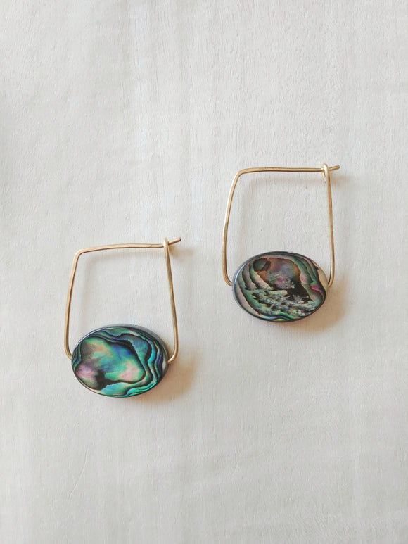 Minimalist Paua Shell Earrings - Kauai No. 3