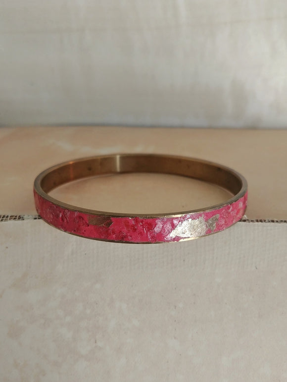 RESERVED - Polymer Clay Bangle Inlay Cuff Bracelet - Fiery Sunset.