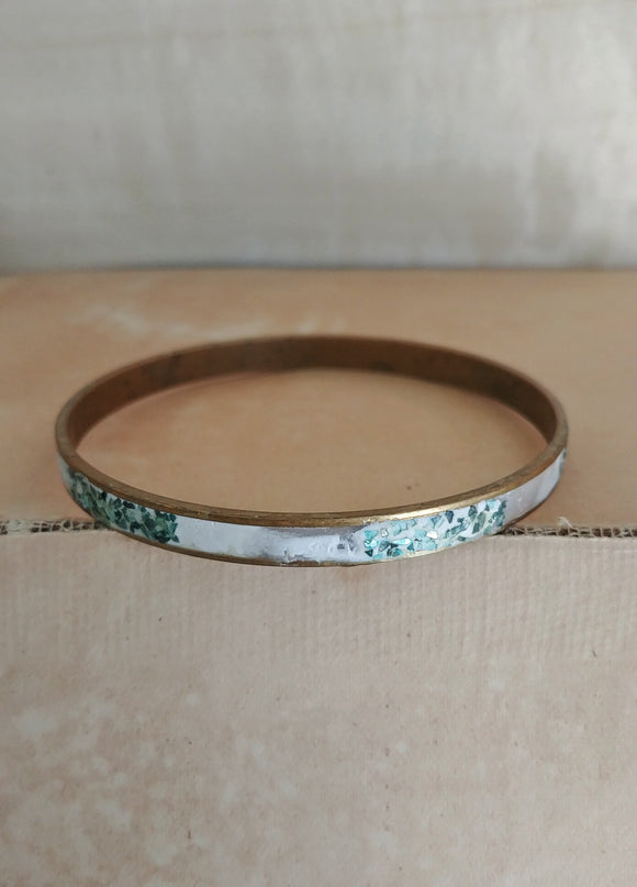 Polymer Clay Bangle Inlay Cuff Bracelet - Teal Stripe.
