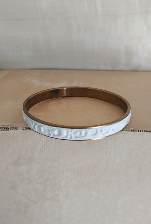 RESERVED - Polymer Clay Inlay Bangle Cuff Bracelet - Porcelain No. 1.