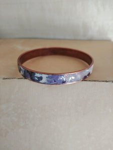 Polymer Clay Inlay Bangle Cuff Bracelet - Lilac Sunset.