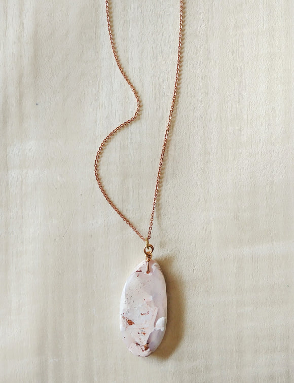 Polymer Clay Necklace Wearable Art Pendant ~ Pink Nougat.