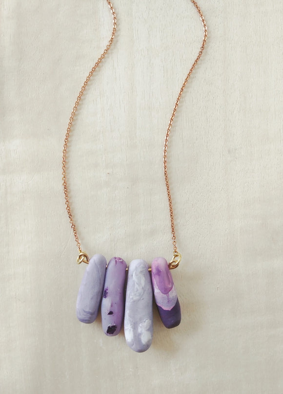 Polymer Clay Necklace Faux Gemstone ~ Purple Hues No. 1