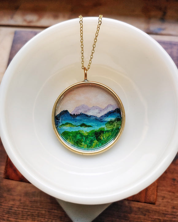 Blue Ridge Mountains Necklace Hand Painted Wearable Art - Blue Ridge Mountains at Dusk Large Pendant
