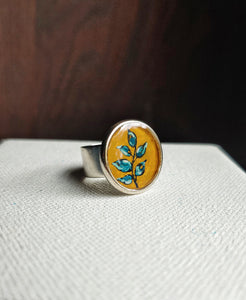 Botanical Ring Hand Painted Wearable Art  -  Blue Sprig.