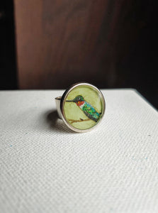 Hummingbird Ring Hand Painted Wearable Art  -  Ruby Throated Hummer.