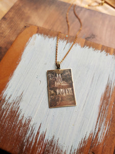 Engraved Art Necklace Brass Tag - Summer Waterfall.