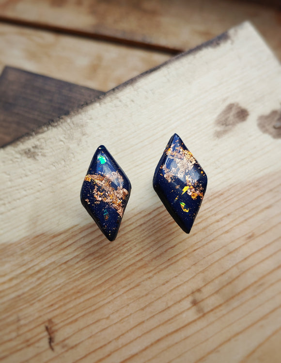 Marquise Polymer Clay Post Earrings - Navy Shimmer