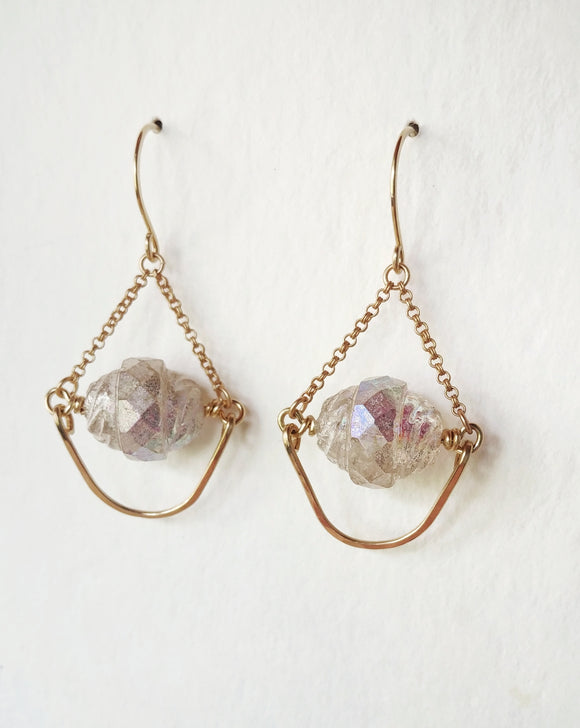 Hammered Teardrop Chandelier Earrings -  Snow Drops.