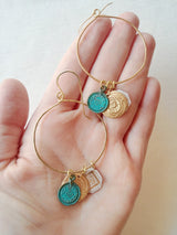 Boho Hammered Hoop Earrings with Coin Charms - From Greece, with love.