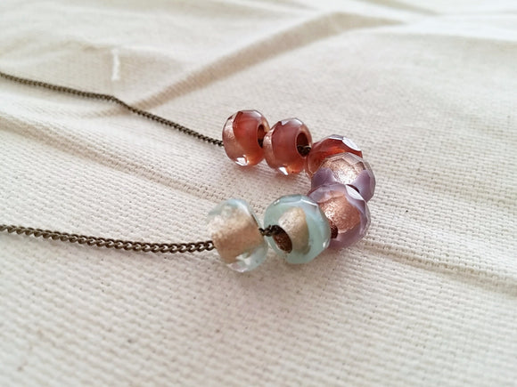 Modern Beaded Slide Necklace - August.