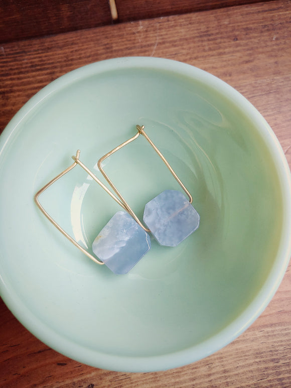 Minimalist Gemstone Hammered Rectangle Earrings  - Pale Lavender.