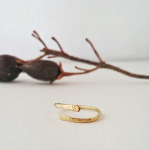 Boho Modern Wrap Ring Hammered Brass - Golden Shimmer No. 1
