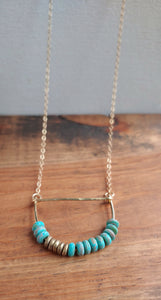 Minimalist Beaded Half Moon Bar Necklace - Chania.