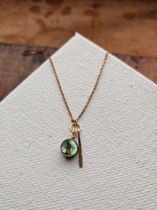 Reserved for Sarah - Minimalist Paua Shell Necklace - Kauai No. 3