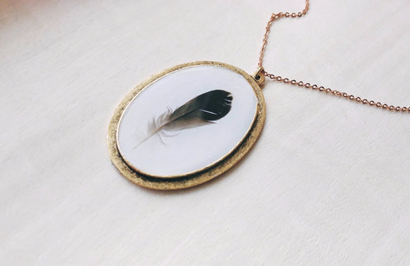 Boho Feather Necklace - Tail Feather No. 2