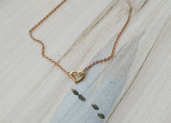 Minimal Brass Heart Necklace -
