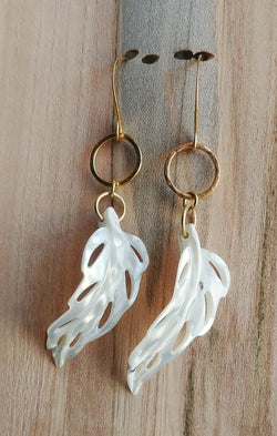 Mother of Pearl Feather Earrings Carved Shell  - The Egret.