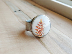 Botanical Polymer Clay Ring  -  Liquid Amber.