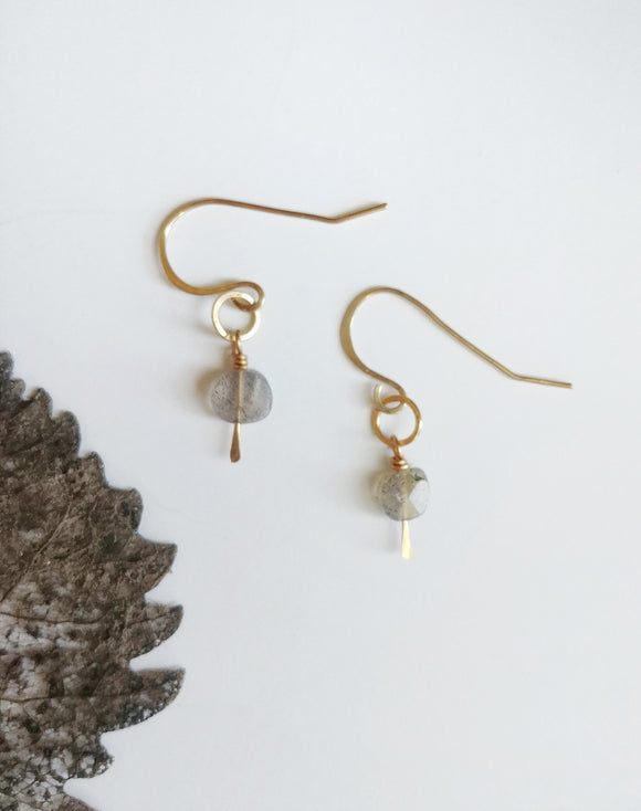Tiny Labradorite Dangle Earrings Gemstone  -  Raindrop