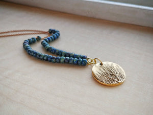 Beaded Tree Pendant Necklace Boho Style - Aspens at Midnight