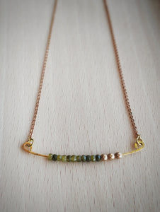 Minimalist Beaded Bar Necklace Moss Green Czech Glass  - Golden Moss