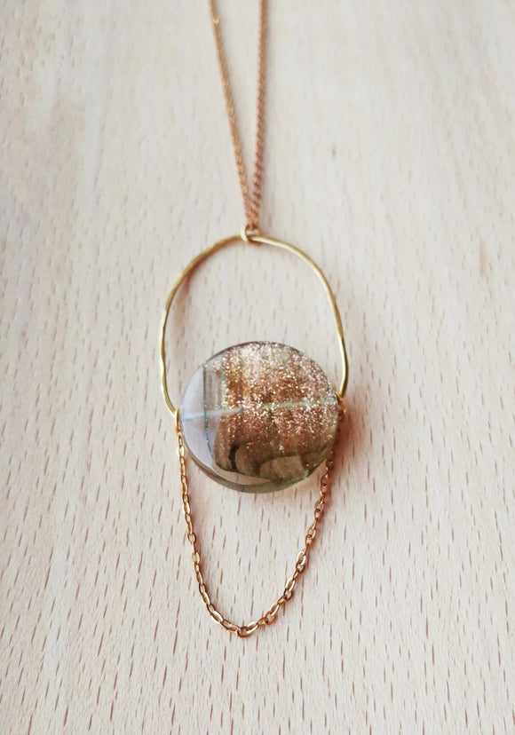 Modern Boho Pendant Necklace Hammered Brass - Stardust.