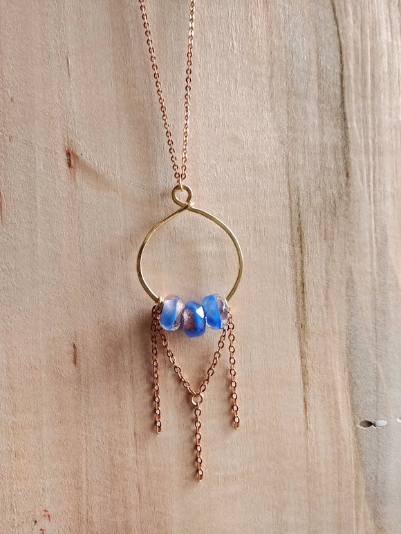 Brass Hammered Hoop Necklace Czech Glass - Periwinkle.